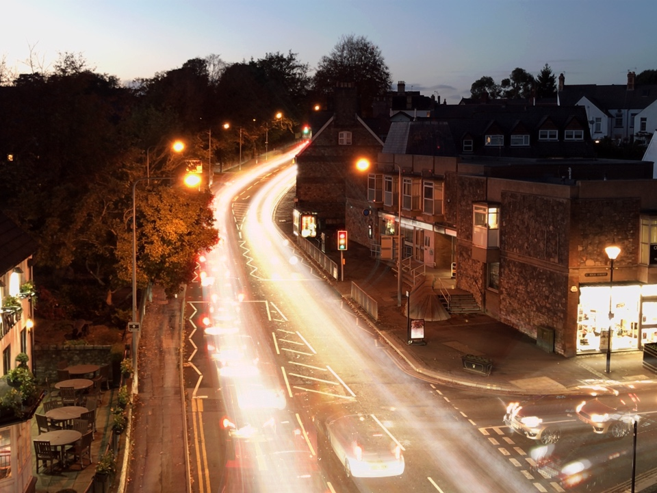 Cardiff light trail of Llandaff
