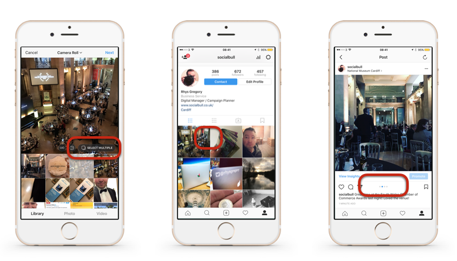 You can now upload multiple photos to Instagram posts
